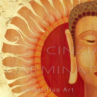 Buddha Sole Dorato - pittura intuitiva © Cinzia Carminati - infinitifluo.com
